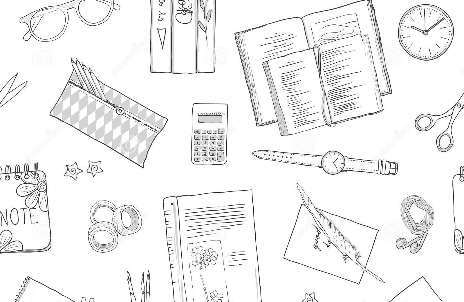 configuração-do-plano-dos-artigos-de-papelaria-livros-fundo-que-estuda-estilo-vida-criativo-linha-tirada-planeando-teste-padrão-125351498